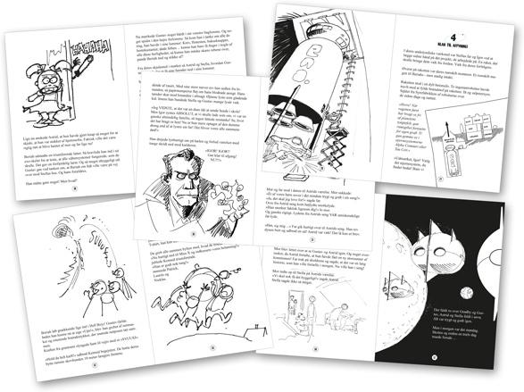 Franks manuskript med forslag til illustrationer indsat.