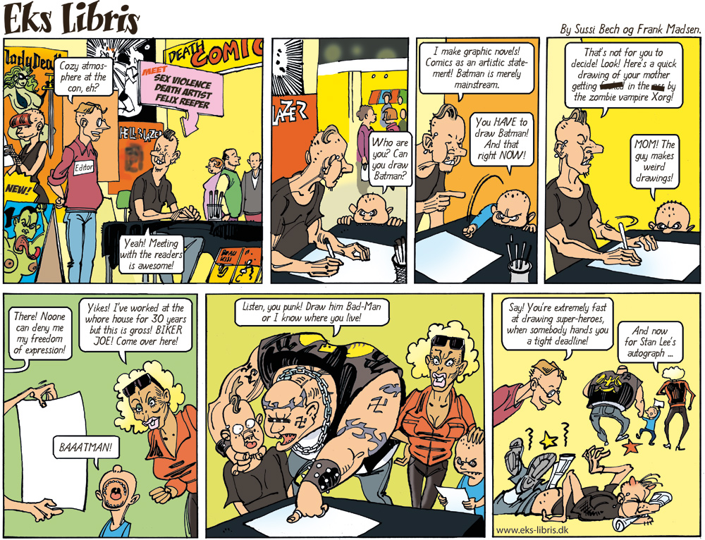 "A typical ""Eks Libris"" strip with Biker Joe and his family visiting a comics convention."