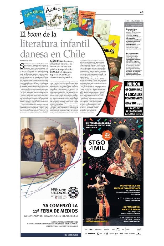 Artikel i chilensk avis, der omtaler Ratón Olfatón.